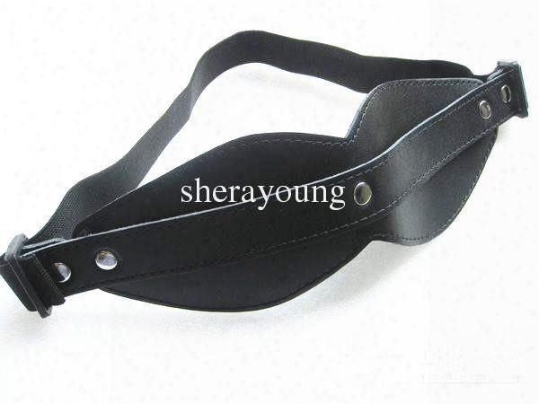 Black Guniune Leather Eye Mask Blindfold Bondage Gear Games Bitch Adult Sex Toys For Women Xly454