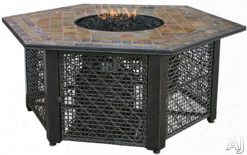 Blue Rhino Gad1374sp Outdoor Lp Gas Fireplace With 30,000 Btu, Electronic Ignition, Hexagonal Design, Slate Mantle And Black Glass Included