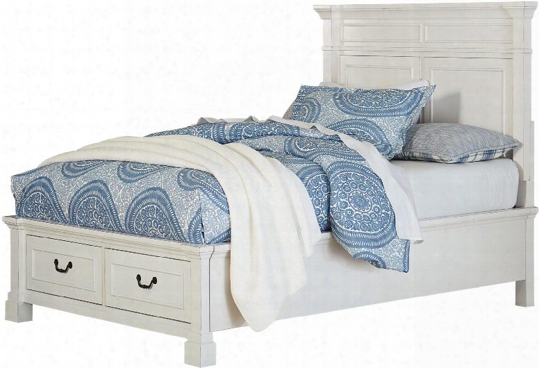 Chesapeake Bay Collection 9163124 Full Size Storage Bed With 2 Footboard Drawers Flat Mantle Style Crowned Panels Decorative Molding Details And Rasped E Dges