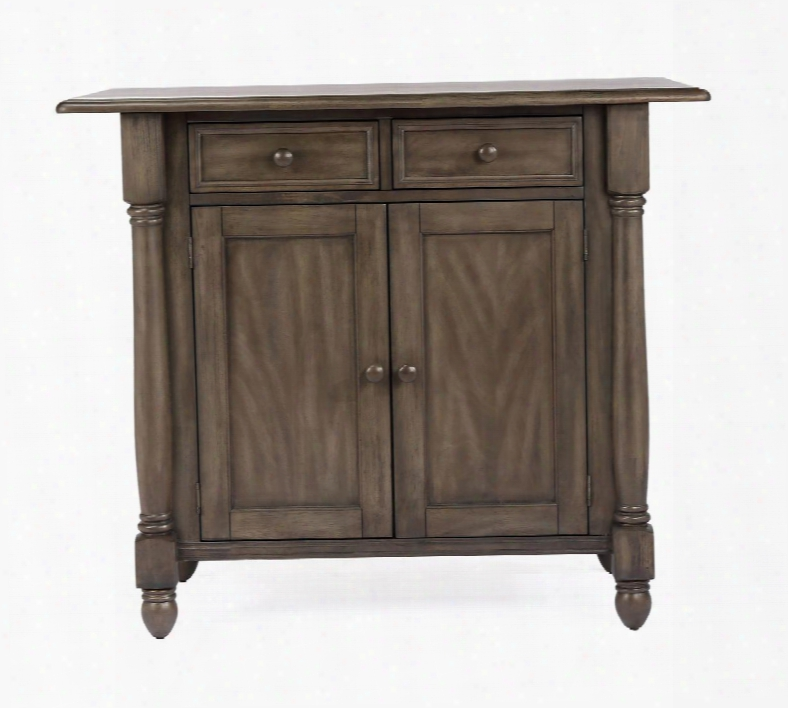 Dlu-ki-4222-ag Shades Of Gray Drop Leaf Kitchen Island With 2 Drawers 2 Doors And Pillar Details In Weathered