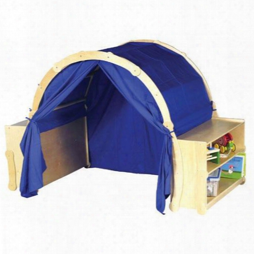 """G6418 71"""" Playhouse Hideaway Bookshelves With 2 Bookshelves Dramatic-play Space With Blue Curtains And Quiet Time Structure In Natural"""