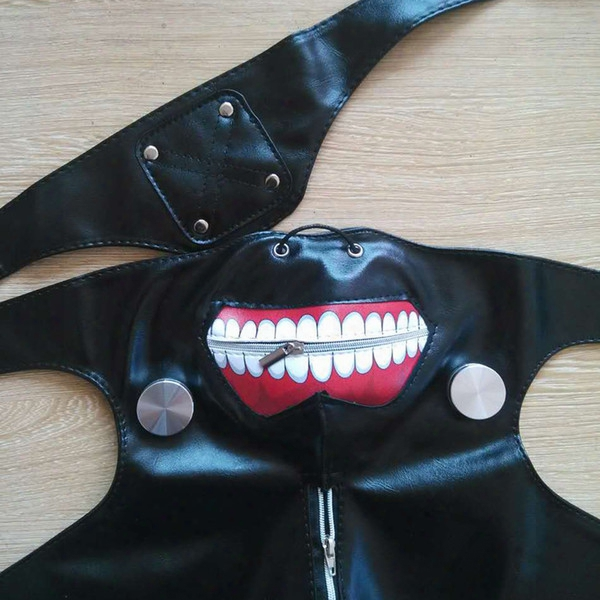 High Quality Clearance Tokyo Ghoul 2 Kaneki Ken Mask Adjustable Zipper Masks Pu Leather Cool Mask Blinder Anime Cosplay 0708085