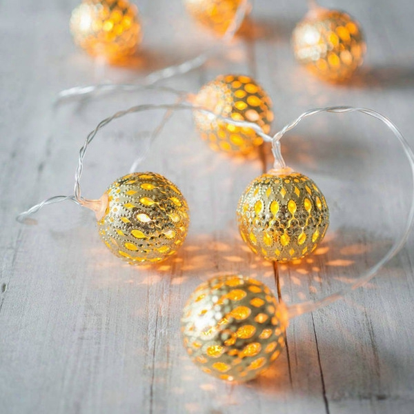 Led Globe String Lights,battery Operated 3m 30 Leds Gold Moroccan For Bedroom,curtain,patio,lawn,landscape,fairy Garden,home