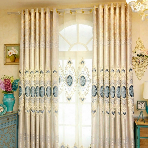 Living Room Window Treatments Luxury Curtains Jacquard Mosaic Embroidery Polyester Curtain Window Drapes 1 Set 4 Panels Wholesale