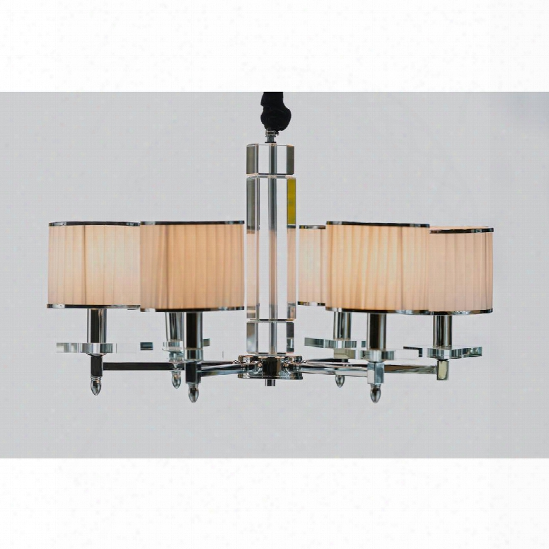 Lm7829-6 Chrome Crystal Chandelier 6 Lights With Shades And Ceiling Mount