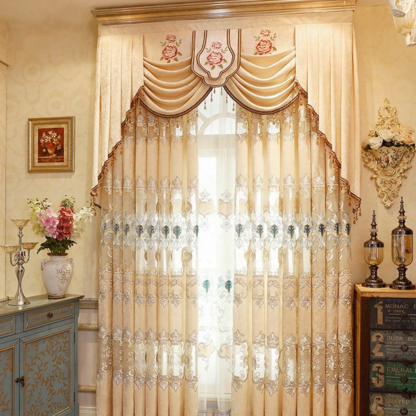 Modern Simple Jacquard Curtain Chenille Fabric Embroidery Curtain High Quality Curtain For Live Room Bedroom