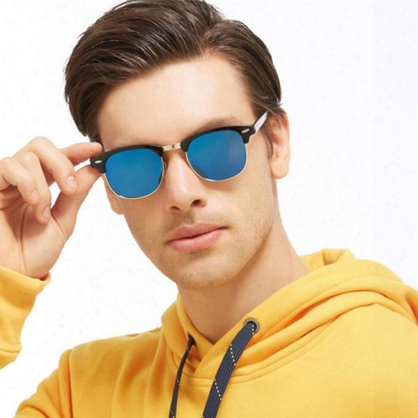 New Polarized Sunglasses Men Semi-rimless Square Sunglass Rivet Black Frame Mirror Goggles Driving Sun Glasses Male Brand Oculos Shadws