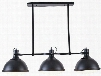 """Meddalyn Collection LS-C119 47.5"""" Island Pendant Lamp with 3-Light Fixture Angular Frame Dome Shades Glass Diffusers and Iron Construction in Black"""