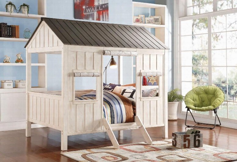 Spring Cottage Collection 37655f Full Size Bed With Slats System Included Light Brown Fabric Curtains For Windows And Door In Weathered White And Washed Grey
