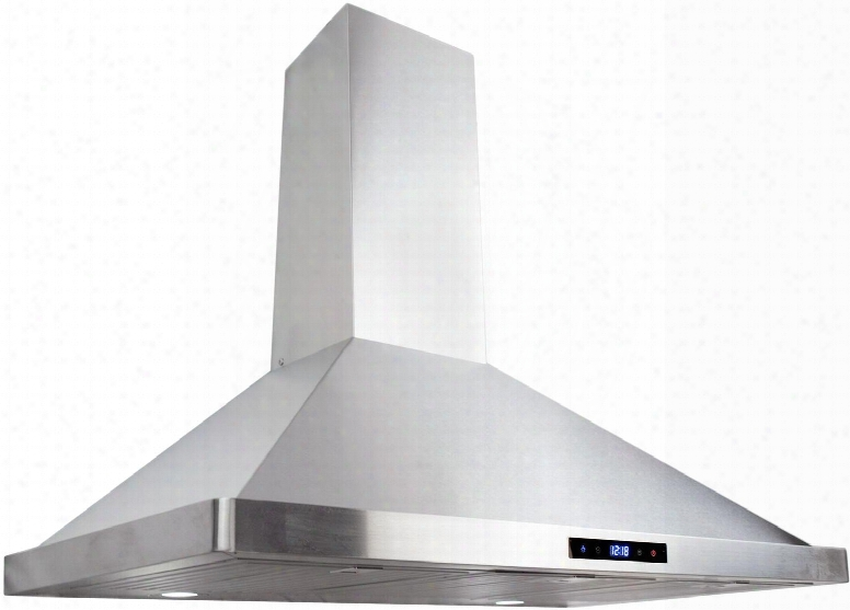 "63190s-cfm 36"" Wall Mount Chimney Range Hood With 380 Cfm 3 Speed Control Led Lighting And Dishwasher Safe Baffle Filters In Stainless"