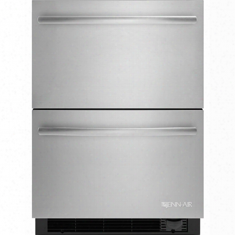 "Jud24fcers 24"" Refrigerator Drawers With Freezer Dual Controlled Temperature Zones Sabbath Mode Automatic Ice Maker And Water Filter In Stainless"