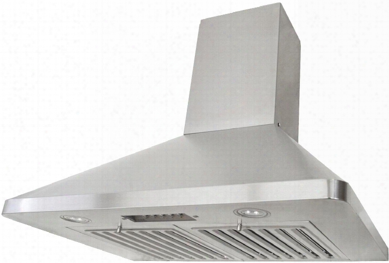 "Rax9436sqb-dc46-1 36"" Wall Mount Range Hood With 680 Cfm Internal Blower 3 Speeds Mechanical Push Button Control Eld Llights Professional Baffle Filters And"