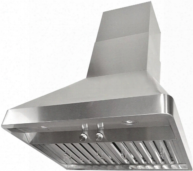 "Rax9536sqb-dc24-1 36"" Wall Mount Range Hood With 760 Cfm Internal Blower 3 Speeds Rotary Control Led Lights Stainless Steel Baffle Filters And Quietmode:"
