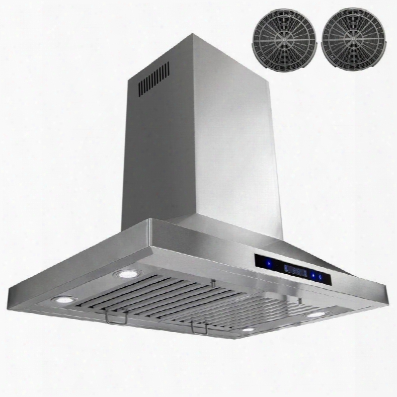 "Gir0230 30"" Island Mount Range Hood With 870 Cfm 65 Db Innovative Touch Led Lighting 3 Fan Speed Stainless Steel Baffle Filter And Ductless: Stainless"