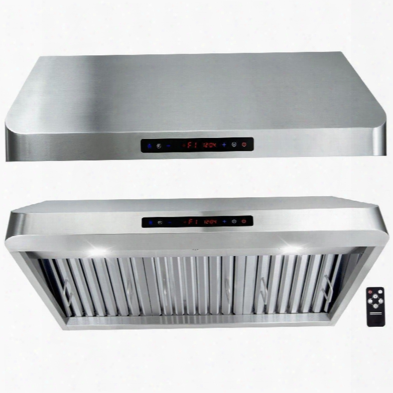 "Gur80136 36"" Under Cabinet Hood With 900 Cfm 65 Db Innovative Touch Led Lighting 3 Fan Speed Stainless Steel Baffle Filter And Remote Control: Stainless"