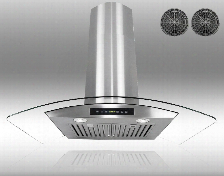 "Gwr73c36 36"" Wall Mount Range Hood With 760 Cfm 65 Db Innovative Touch 2w Led Lighting 3 Fan Speed Stainless Steel Baffle Filter And Ductless: Stainless"