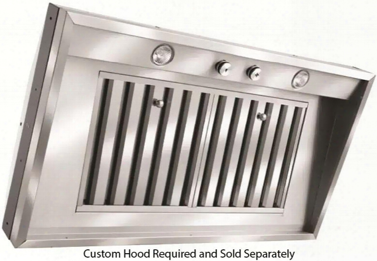 """M64psld Ss 65"""" M Series Pro Wall Liner Insert Halogen Lighting Corrosion Reisstant Canopy Stainless Steel Baffle Filters And 4 Speed Blowers In Stainless"""