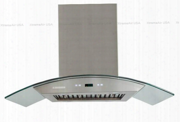 """Px01-i42 42"""" Island Mount Range Hood With Dishwasher Safe Stainless Steel Baffle Filters Ultra Quiet Dual Squirrel Cage Motor 6"""" Round Duct Vent On Top & In"""