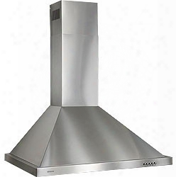 Broan B5830ss 30 Inch European Style Wall Mount Chimney Hood With 450 Cfm Internal Blower, 5 Push Button Controls, 2 Halogen Lighting, Dishwasher-safe Filters And Convertible To Non-ducted Operation