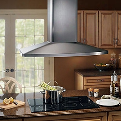 Broan Elitte E54000 Series  E5490ss 36 Inch High Performance Island Chimney Hood With 480 Cfm Internal Blower, Multi-speed Slide Control, Heat Sentry, Four Halogen Lamps And Dishwasher-safe Luminum Filters