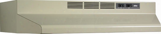 Broan F40000 Series F404208 42 Inch Under-cabinet Range Hood With 190 Cfm Internal Blower, 2-speed Rocker Control, Dishwasher-safe Aluminum Grease Filter And Convertible To Recirculating: Almond