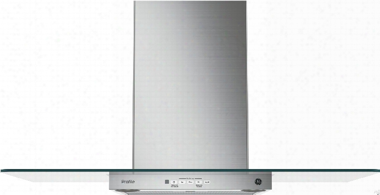 Ge Pvw73 Wall Mount Glass Chimney Hood With 350 Cfm Blower, Recirculating Option, 2-level Halogen Lighting, Dishwasher-safe Grease Filters And Optional Remote Control