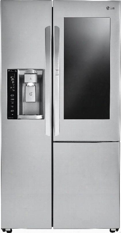 Lg Lsxc22396s 36 Inch Counter Depth Side-by-side Refrigerator With Instaview Windowã¢â�žâ¢, Door-in-doorã'â®, Smartthinqã¢â�žâ¢ Wi-fi, Slim Spaceplusã'â® Coat  System, Water Filter, Adjustable Glass Shelving, Energy Starã'â® And 21.7 Cu. Ft. Capacity