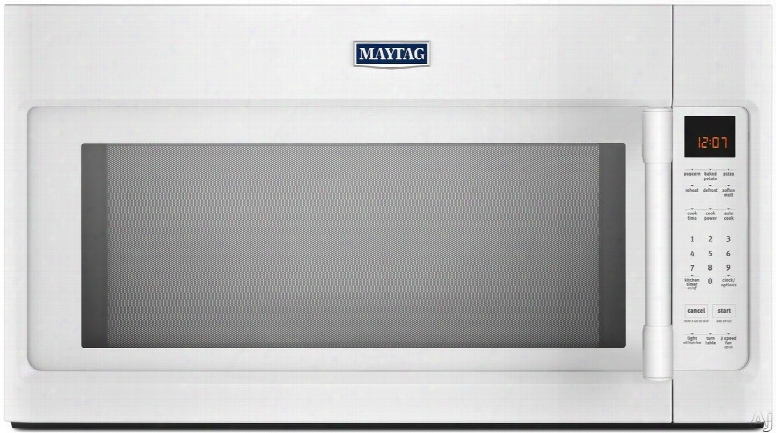 Maytag Mmv4205fw 2.0 Cu. Ft. Over-the-range Microwave With Sensor Cooking, Cooking Rack, Stainless Steel Interior And Charcoal Filter: White