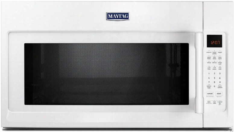 Maytag Mmv5220fw 2.1 Cu. Ft. Over-the-range Microwave With Wideglide Tray, Sensor Reheat ,12 Modes, Stainless Steel Interior, Charcoal Filter, Hidden Vent, 100 Watts, 400 Cfm And 4-speeds: White