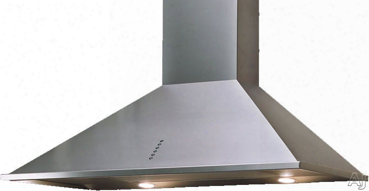 Sirius Wall Series Sue1 Wall Mount Chimney Range Hood With 295 Cfm Internal Blower, 3 Speed Push-button Control Panel, Halogen Lamps And Anodized Aluminum Grease Filters