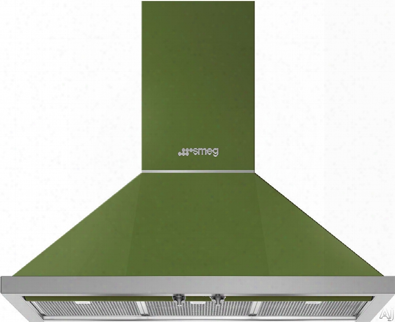 Smeg Portofino Kpf36uog 36 Inch Wall Mount Chimney Hood With Control Knobs, Led Lights, 3 Speeds, Stainless Steel Filters And 600 Cfm: Olive Green