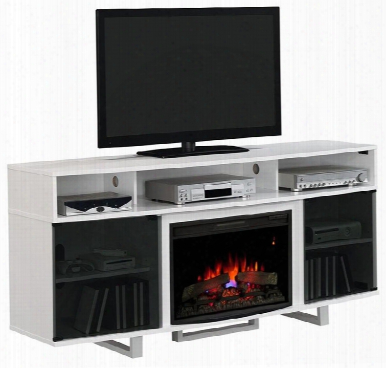 26mm9665-nw145 Enterprise Lite Electric Fireplace Entertainment Center With Tempered Glass Doors Side Storage Cabinets And Adjustable Shelves In High Gloss