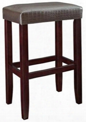 631-431 Brown Croc Faux Leather Barstool With Straight Lined Legs Local Hardwoods Ca Firefoam Vinyl And Faux Leather Pu