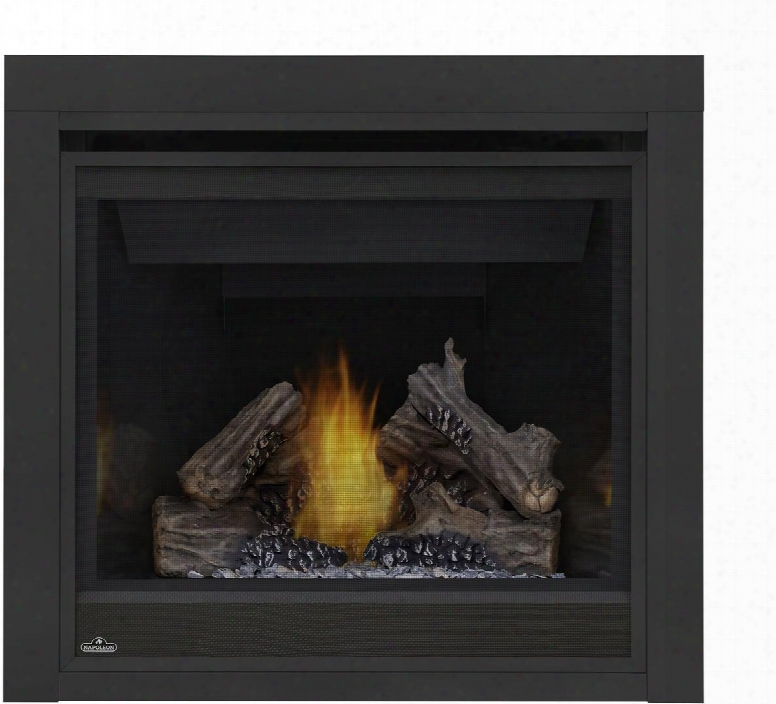 "Ascent Series B36ntre 35"" Direct Vent Natural Gas Fireplace With Electronic Ignition Up To 18 000 Btu's Pan Style Burner Standard Safety Barrier Phazer Log"