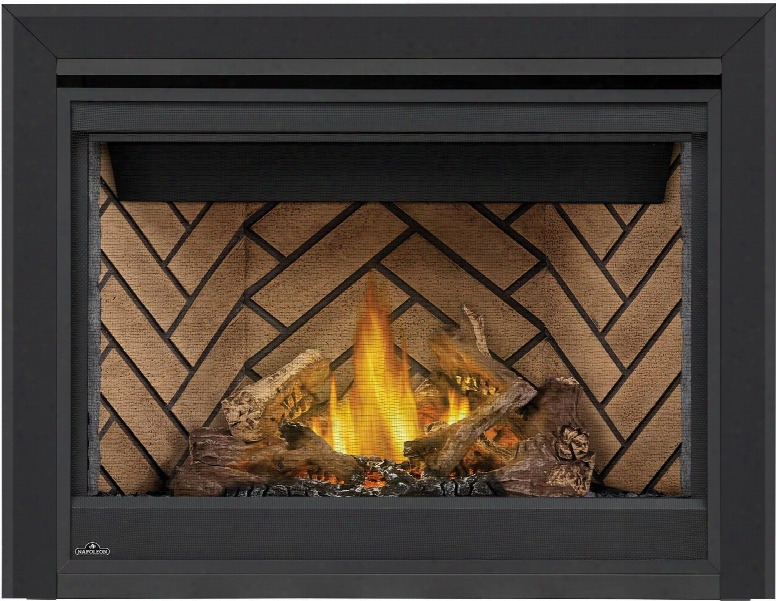 "Ascent Series B42ntre 42"" Direct Vent Natural Gas Fireplace With Electronic Ignition Up To 22 000 Btu's Pan Style Burner Standard Safety Barrier Phazer Log"