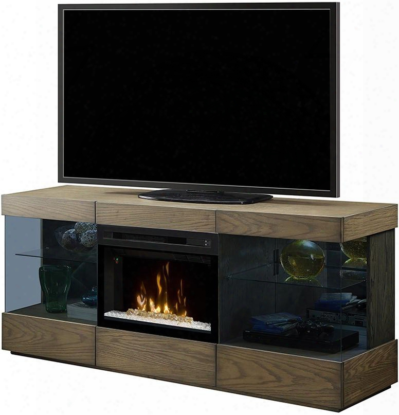 "Axel Collection Gds25gd-1583rs 71"" Contemporary Media Console Complete With Pf2325hg 25"" Glass Ember Bed Firebox Multi-function Remote Heat Boost In A Raked"