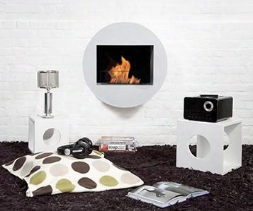 Bb-qwa-w Qwara Bio Ethanol Fireplace With Adjustable Burner 6824 Btu Heat Capacity Hanigng System Funnel Marble Stones Lighter And Extinguish Tool In