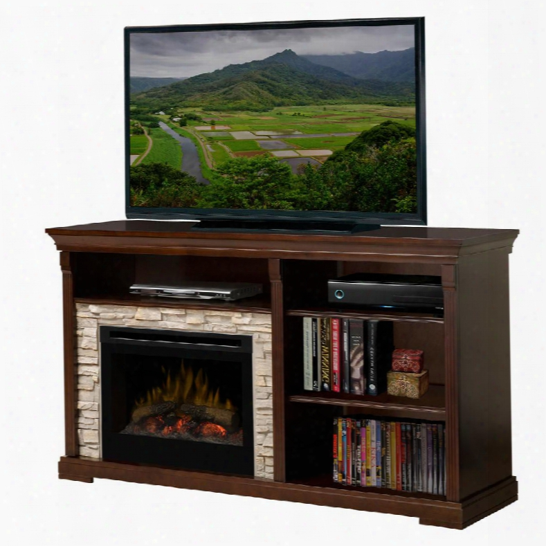 Gds25-1269e Edgewood Fireplace Media Console With Realistic Flame Technology Optional Heat Emission Cool Glass Front Logs And Remote Control In