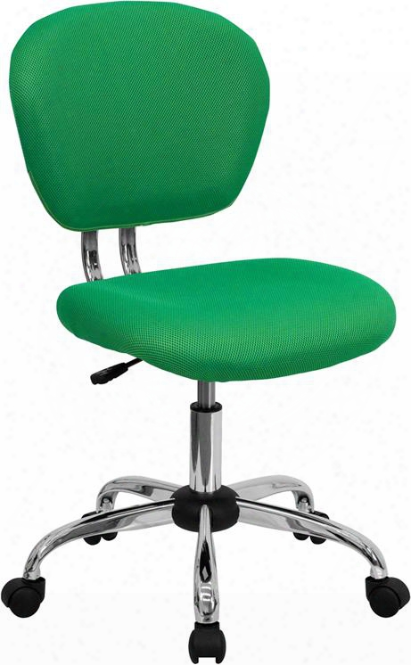 """H-2376-f-brgrn-gg 33.5""""-37.5"""" Task Chair  With Pneumatic Seat Height Adjustment Swiv El Seat Ca117 Fire Retardant Foam Padded Mesh Seat And Back In Bright"""