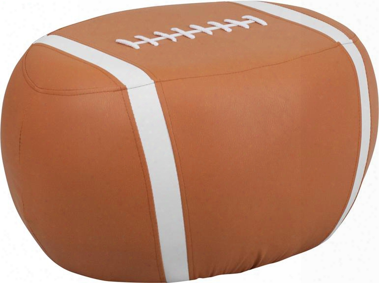 """Hr-26-gg 23.5"""" Kids Sports Stool With Ca17 Fire Retardant Foam And Football Print Vinyl Upholstery In Brown And White"""