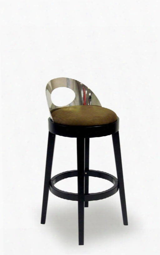 Lc4046babr26 Vista Stationary Microfiber Barstool With Solid Wood Construction Polished Steel Back And Fire Retardant Foam Padding In