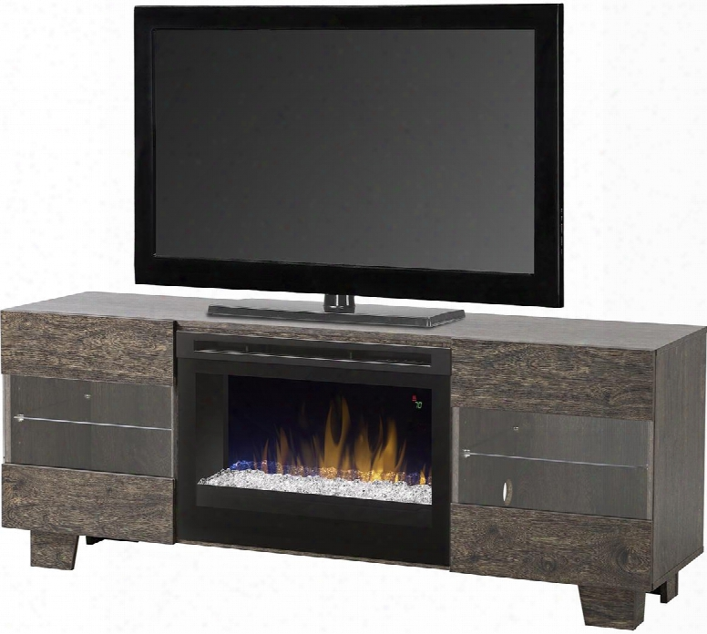 "Max Collection Gds25g5-1651eb 62"" Contemporary Media Console Complete With Fdr2551g 25"" Electric Firebox With Glass Ember Bed Push-to-open Magnetic Catches"