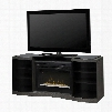 """Acton Collection GDS33HG-1246SC 73"""" Media Console with Recessed Firebox with Acrylic Ice Bed Serpentine Front Design and 2 Cabinets in Silver"""
