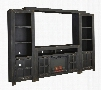 Gavelston Collection W732ENTF01 5-Piece Entertainment Center with W100-01 Electric Fireplace Insert TV Stand Left Pier Right Pier and Bridge in