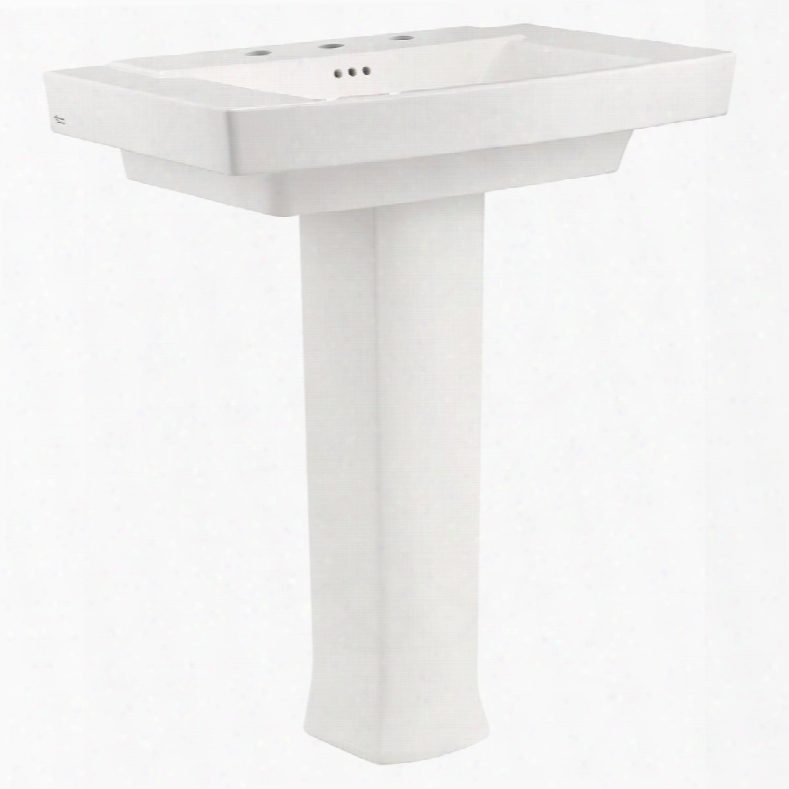 """Townsend 0328.800.020 35""""h Pedestal Sink With 8 Inch Centers Fireclay Material And Rear Overflow In"""