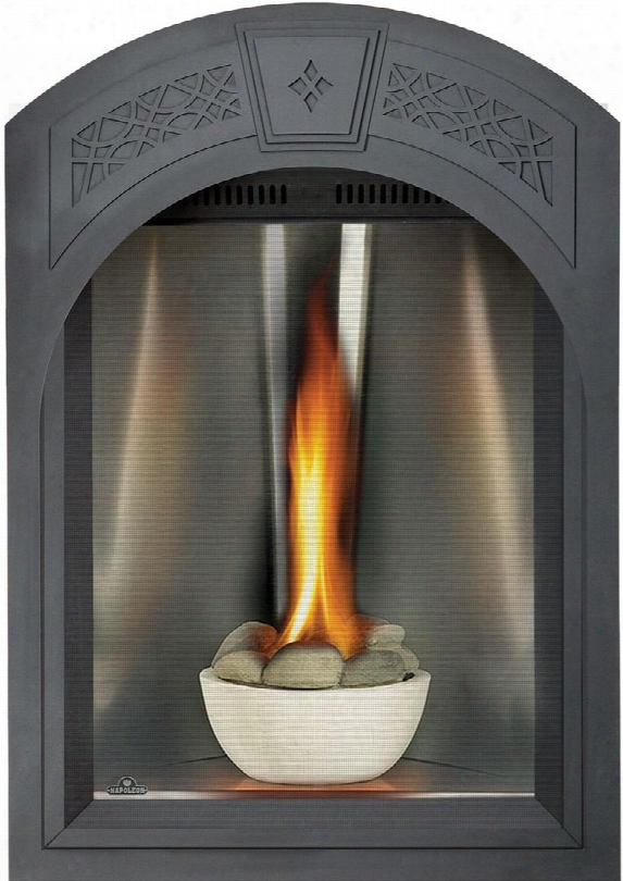 "Tureen Series Gd82nt-tesb 28"" Direct Vent Natural Gas Fireplace With Electronic Ignition Up To 26 000 Btus Medallion Tall Flame Burner And Heat Radiating"
