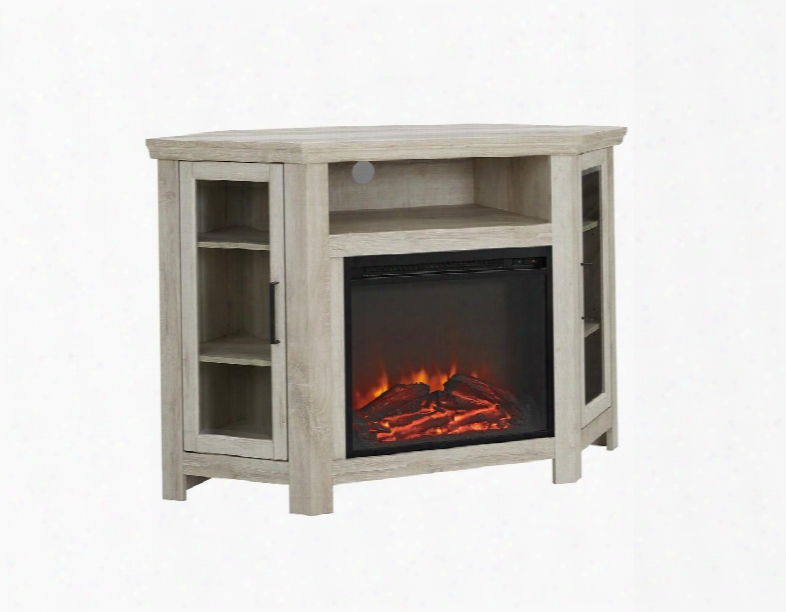"W48fpcrwo 48"" Wood Corner Fireplace Media Tv Stand Console In White"