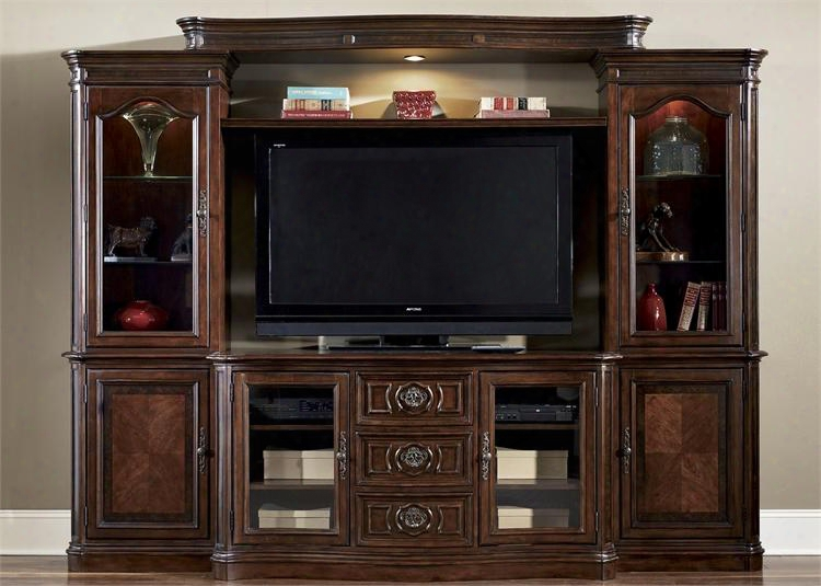 """Andalusia Collection 259-entw-ecp 4-piece Entertainment Center With Left Pier Right Pier Light Bridge And 64"""" Tv Stand In Vinttage Cherry"""