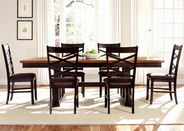 Bistro Ii Colllection 74-cd-7trs 7-piece Dining Room Set With Trestle Table And 6 Side Chairs In Honey & Espresso