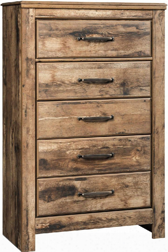 "Blaneville Collection B224-46 34"" Chest With 5 Drawers Side Roller Glides Antique Brass Color Handles And Replicated Oak Grain Finish In"